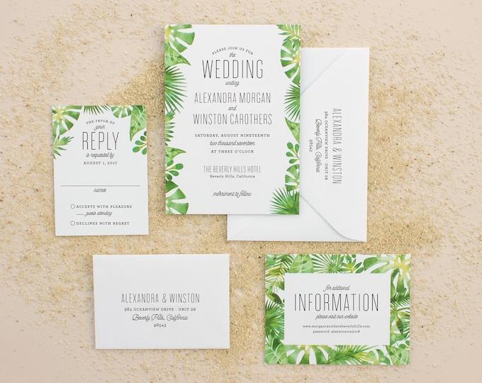 Tropical Wedding Invitations, Destination Wedding Invitation for Beach Weddings, Watercolor Palm Leaf Invite DEPOSIT | Palm