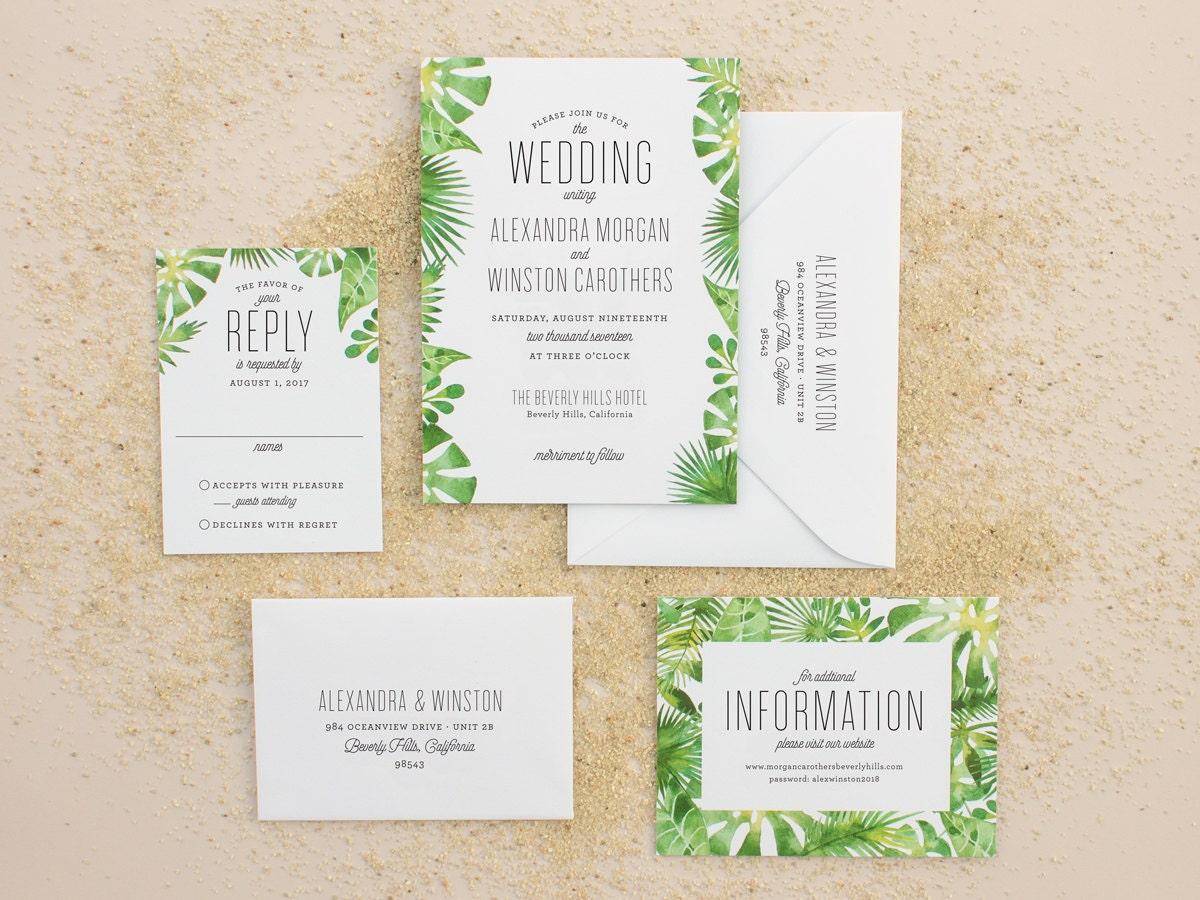 Tropical Wedding Invitations: Tropical Wedding Invitations Destination Wedding Invitation