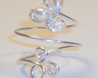 Toe Ring, Sterling Silver, Freshwater Pearls, Swarovski Crystal