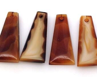 4 Vintage Caramel Drop Glass Beads 20mm