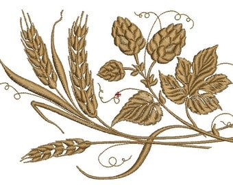 ears of wheat and hops  Machine Embroidery Designs