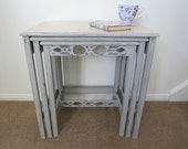 Upcycled Furniture, Nest of Tables, Painted Side Tables, Grey Home Decor, Shabby Chic Table, Distressed Furniture