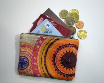 Mandalas coin purse, Small zipper pouch, Card wallet, Gift idea, Printed wallet