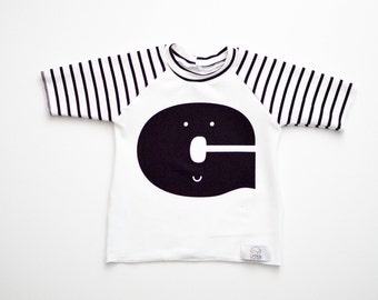 Monochrome Alphabet Raglan | CHOOSE Your Letter A-Z