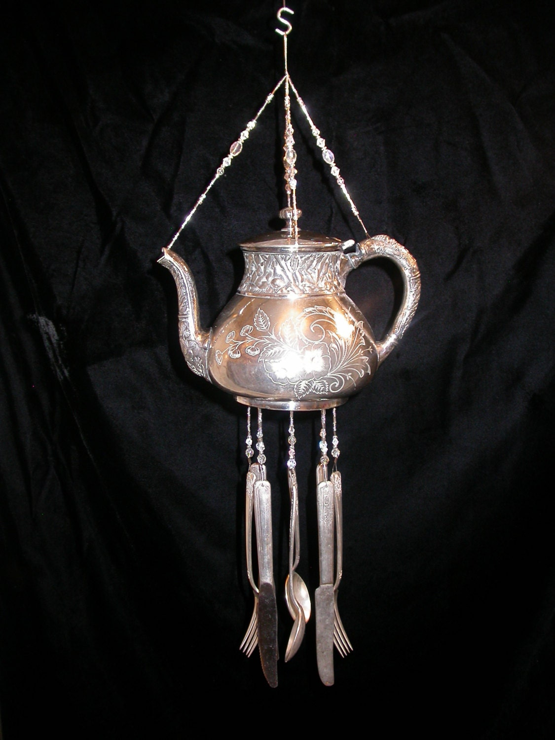 Wind chimes silver plate vintage teapot silverware unique for Wind chimes out of silverware