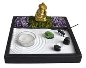Mini Zen Garden // Laughing Buddha Statue // Incense Burner // Amethyst // Tealight Candle Holder // Meditation // Zen Garden Kit / Desk Toy