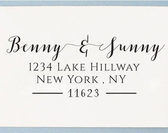 Custom Personalized Self Inking Return Address Rubber Stamp - Calligraphy Name Design - T03