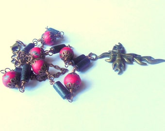 Black, red, bronze colour cross necklace with polymer clay and wooden beads.