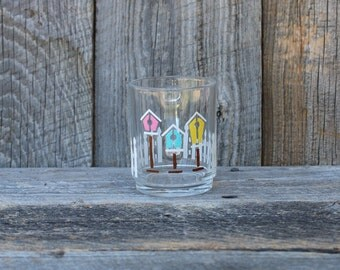 Glass Birdhouse Mug, Country theme glassware, Primitive decor, Clear glass coffee mug, Tea mug
