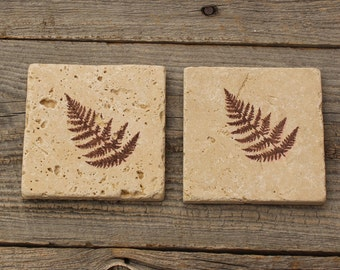 Fern leaf,  Rustic Stone Coaster, Travertine Tile coaster, Tumbled stone tile