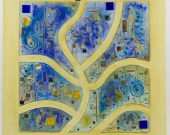 Composition in Blue, French Contemporary Abstract Collage Painting
