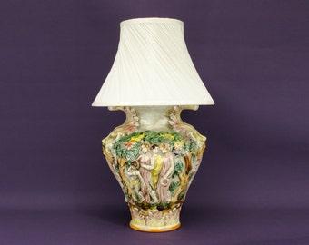 Vintage Ceramic Figures LAMP Decor Capodimonte Pink Rustic Large Italian 1950s LS