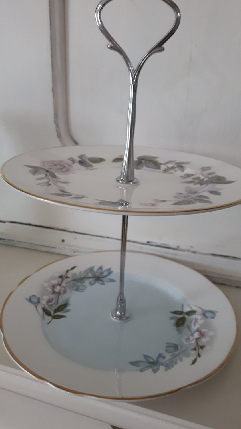 Hand made vintage china cake stand, trinket stand, muted blue and grey floral design