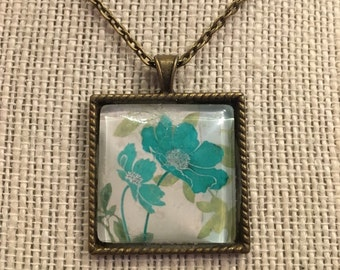 "16"" Square Teal Flowers Glass Pendant Necklace"