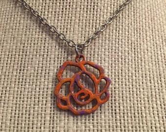 """20"""" Orange&Purple Rose Necklace"""