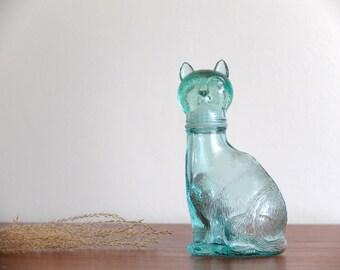 1960s glass cat bottle