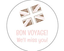 12 Bon Voyage Stickers, London Theme, Thanks for Coming, Goodie Bag Stickers, Going Away Party, London Birthday, Miss You Tags