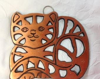 25%  Sale Event Vintage Copper Cast Iron Cat  Trivet Cat Hot Plate