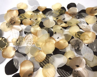 Party Decor , 150 Flower Petals , Black and Gold , Wedding Flower Petals , Rose, Centerpiece, Table Scatter, flower girl .