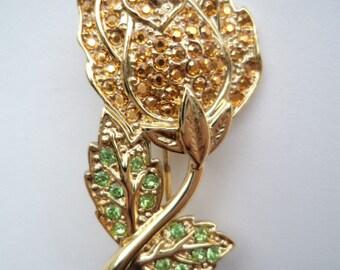 Vintage Signed Danecraft  Sparkling Pale Green/Topaz Rhinestones Flower Brooch/Pin