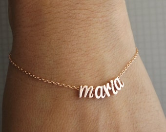 Silver, rose gold or gold plated custom name bracelet, rose gold initial bracelet, rose gold name name bracelet , mothers bracelet