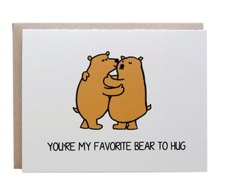 Love Card, Valentines Day Card, Anniversary card, Bear Hug, I Love You
