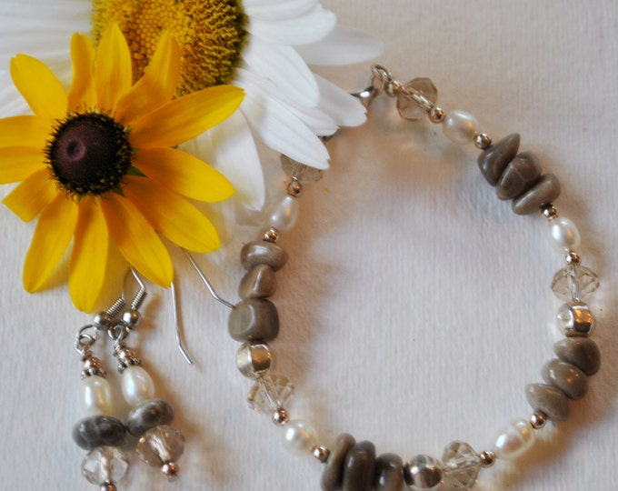Petoskey Stone Bracelet set with Petoskey stone nuggets, crystals, sterling silver beads, pearls,  Up North bracelet, Michigan