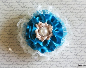 NEW: Teal & Ivory Lace Hair Accessory, Newborn Headband, Baby Headband, Girl Headband, Woman's Hair Accessory, Brooch, Photo Prop!