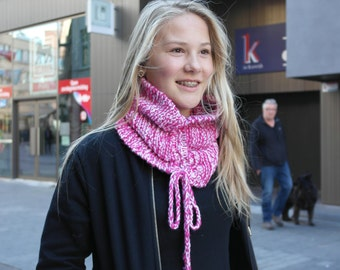 Pink and white striped cowl, pink knit cowl, white knit cowl, pink and white infinity scarf, pink and white, knit cowl, free shipping