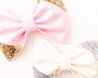 Gold silver glitter bow on pink cream baby girl hair bow headband