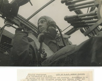 British military pilot RAF bomber in airplane WWII antique photo