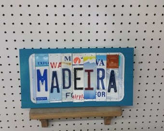 MADEIRA License Plate Sign License Plate letter Art Picture Home Deco License Plate Letter Sign License Plate Art