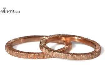 14k roseGold wedding set Woodgrain wedding band, tree bark organic texture his and hers wedding rings, bark engraved yellow gold band set