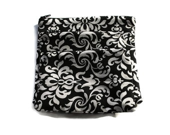 Reusable Zipper Snack Sandwich Bags set of 3 Black Damask Cotton Twill
