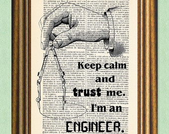 I'M AN ENGINEER - Dictionary Art Print - Quote on Book Page - Wall Art
