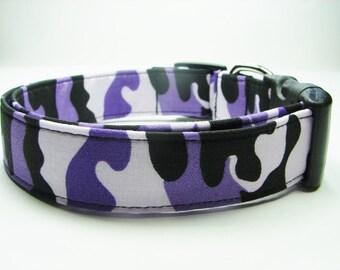 Purple & Black Camouflage Dog Collar