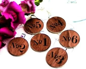 Cheap wedding wine charms, real wood wine charms