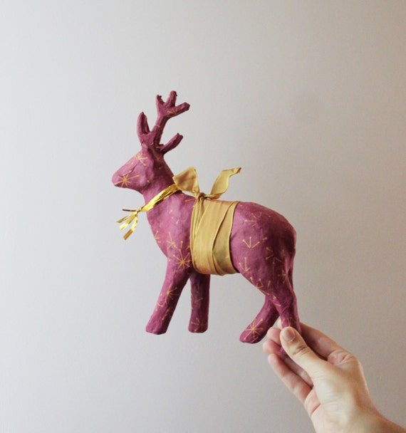 Vintage reindeer, burgundy, Christmas, paper mache reindeer, vintage reindeer, Xmas sculpture in marsala with snowflakes and golden ribbons