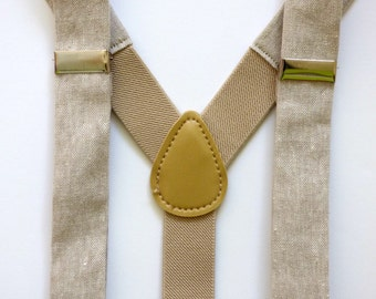Toddler suspenders, khaki linen boys suspenders, kids suspenders, spring outfit baby boy, toddler boys Easter outfit - made to order