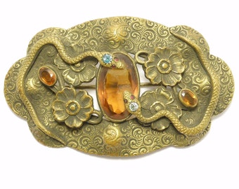 Victorian Large Double Serpents Snakes Sash Pin