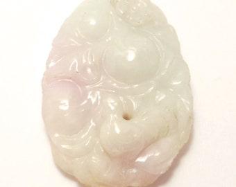 Carved Elegant Celadon And Lavender Jade Pendant