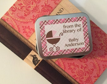 Baby Girl Personalized Book Plate Sticker, Book Labels, Book Gift, Library Tags, From the Library Of, Baby Shower Bookplate, Book Shower