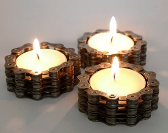 Cycling Gifts, Set of 3 Tea Light Holders, Bike Chain Tea Light, Bike Accessories, Industrial tea light holders, Steampunk Candle Holder