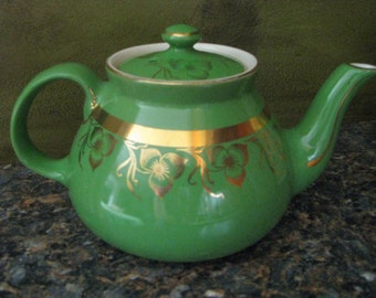 Hall Teapot Green w/ Gold 6 Cup #032 from 1930's USA Collectible Vintage Tea Pot Gift EUC