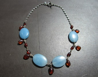 Blue Agate and Amber Necklace
