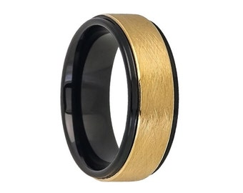 Tungsten Wedding Band,Tungsten Wedding Ring,18k Gold,Satin Polish,Black and Yellow,Engagement Ring,Anniversary Band,8mm,Gold Tungsten Band