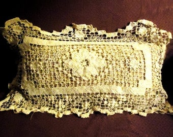 Crocheted Pillow Vintage Ecru Pillow