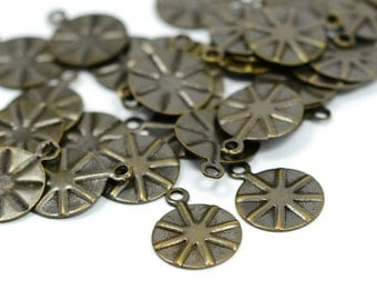50 Pcs. Antique Brass 10 mm Round Charms Drop Findings