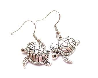 Turtle earrings Silver earrings