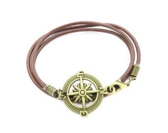 Compass leather wrap bracelet